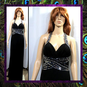 Black Long Sequined Gown by Night Way #096